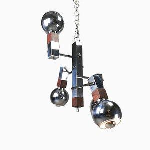 Lámpara de araña Mid-Century de metal cromado y palisandro de Targetti