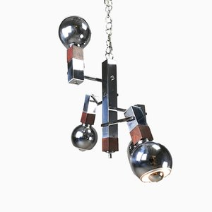 Mid-Century Chrome and Rosewood Chandelier from Targetti