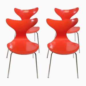 Danish Seagull 3108 Dining Chairs by Arne Jacobsen for Fritz Hansen, 1974, Set of 4