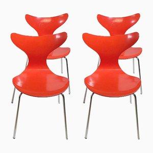 Sillas de comedor Seagull 3108 danesas de Arne Jacobsen para Fritz Hansen, 1974. Juego de 4