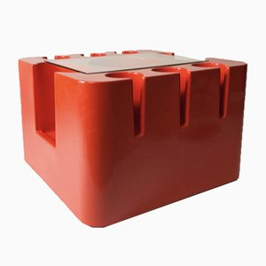 Tavolino Bacca arancione su ruote di Sergio Mazzo per Artemide, anni '60