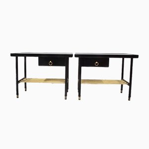 Tables d'Appoint en Cuir par Jacques Adnet, 1950s, Set de 2