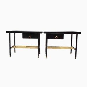 Tavolini in pelle cucita di Jacques Adnet, anni '50, set di 2