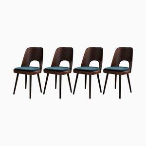 Mid-Century Esszimmerstühle mit smaragdgrünem Samtbezug von Oswald Haerdtl, 4er Set