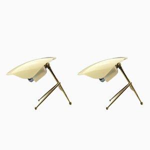 Lámparas de mesa alemanas de latón y plexiglás de WKR Offenbach, años 50. Juego de 2