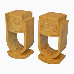 Vintage French Nightstands in Maple, 1940s, Set of 2