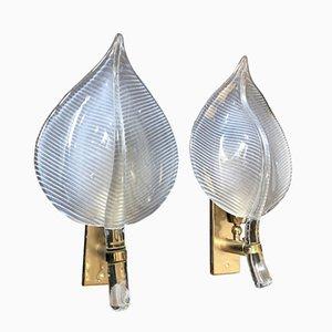 Apliques Mid-Century en forma de hoja de latón y cristal de Murano, 1970. Juego de 2