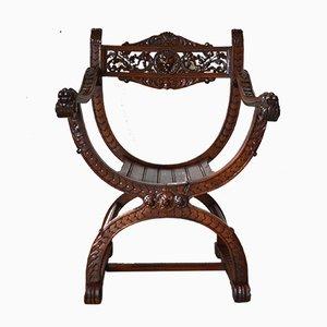 Antiker französischer Armlehnstuhl aus geschnitztem Nussholz im Renaissance Stil, 1880er