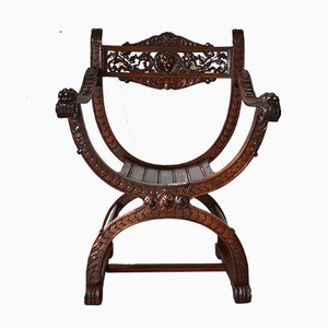 Antique Renaissance-Style French Carved Walnut Armchair, 1880s