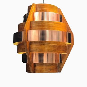 Walnut Veneer & Copper Ceiling Lamp by Hans-Agne Jakobsson, 1960s