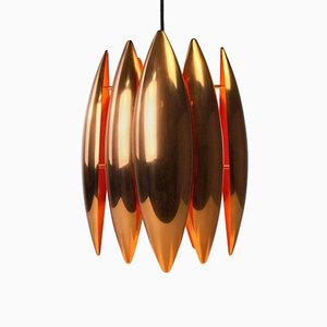 Kastor Copper Ceiling Light by Johannes Hammerborg for Fog and Mørup, 1969