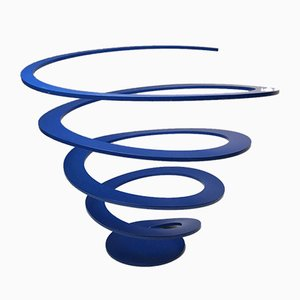 Danish Blue Lacquer Spiral Fruit Bowl from Excel, 1980s
