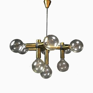 Atomic Golden Chandelier by Trix & Robert Haussmann for Swiss Lamp International, 1960s