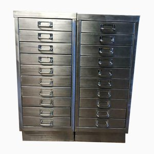 Vintage Industrial 10-Drawer Filing Cabinets, Set of 2