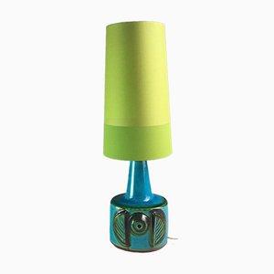 Lampe de Bureau en Céramique Turquoise, Verte et Bleue par Einar Johansen pour Søholm Stentøj, Danemark, 1970s