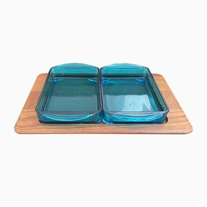 Vintage Cabaret Blue Glass Serving Tray Set for Holmegaard