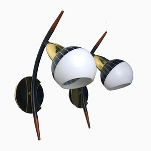 Black & White Wall Lights with Teak & Brass Details from Lyfa, 1950s, Set of 2