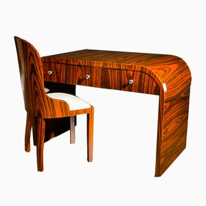 French Art Deco Rosewood Desk with Chair, 1930s