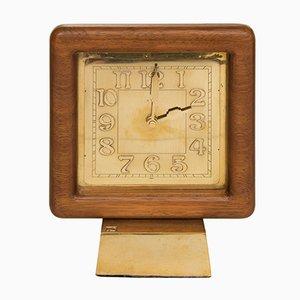 Horloge Mid-Century en Teck et Bronze, 1960s