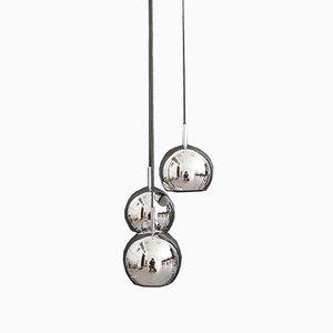Lampada a cascata modernista in metallo cromato, anni '60