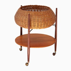 Italian Teak and Wicker Service Cart, 1950s