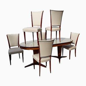 Tavolo da pranzo vintage con sei sedie, anni '50