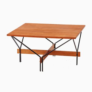 Italian Teak & Iron Square Coffee Table, 1950s