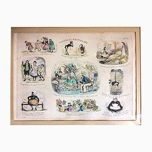 Grabados náuticos pintados a mano de Henry Heath, 1835. Juego de 5