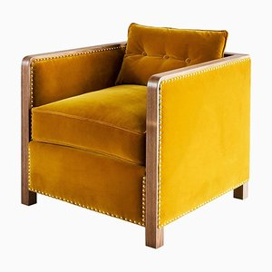 Art Deco Style Bacco Armchair in Natural Walnut & Velvet by Casa Botelho