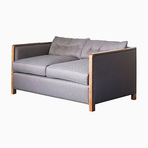 Art Deco Style Bacco Two-Seater Sofa in Natural Walnut & Linen with Gunmetal Studs by Casa Botelho