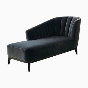 Chaise longue Blue Notte Aphrodite de terciopelo y nogal negro americano de Casa Botelho