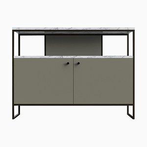 Eros TV-Konsolentisch aus Stahl, Leder & Marmor von Casa Botelho