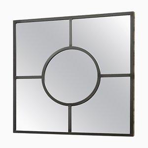 Art Deco Bacco Spiegel mit pechschwarzem pulverbeschichtetem quadratischem Stahlrahmen von Casa Botelho