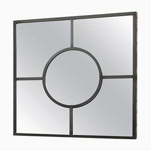Art Deco Style Bacco Mirror Squared in Pitch Black in Steel Powder Coated by Casa Botelho