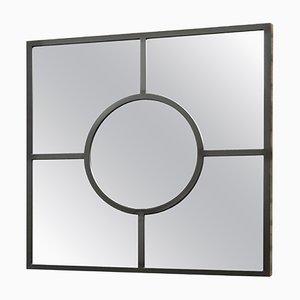 Specchio Bacco in stile Art Déco a quadri nero in acciaio verniciato a polvere di Casa Botelho