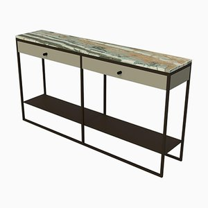 Eros Console with Drawers in Marble & Powder Coated Steel by Casa Botelho