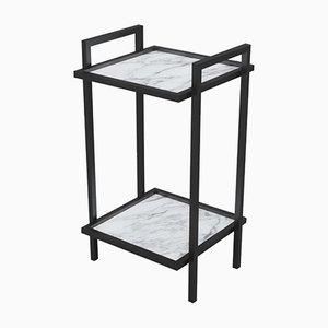 Bacco Console Side Table in Steel with Marble Surfaces by Casa Botelho