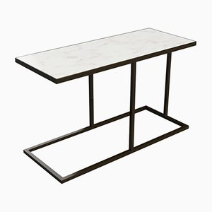 Bacco Cantilever Side Table in Marble and Powder Coated Steel by Casa Botelho