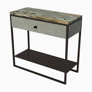Marble, Ultraleather & Powder Coated Steel Eros Bedside Table by Casa Botelho