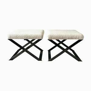X-Leg Stool in Blackened Steel and Bouclé by Casa Botelho