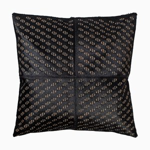 Patterned Cowhide Cushion in Pitch Black with Leather Zip Tassels by Casa Botelho