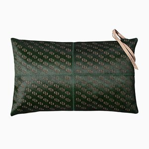 Seaweed Green Patterned Cowhide Cushion with Leather Zip Tassels by Casa Botelho