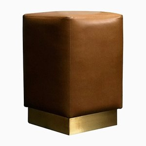 Ultra-Leather & Brass Ermes Pouf by Casa Botelho