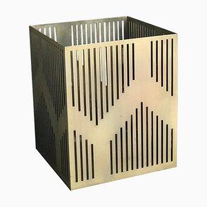Kleiner galvanisierter Art Deco Vulcano Papierkorb oder Pflanzer von Casa Botelho