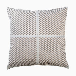 Winter White Patterned Cowhide Cushion with Leather Zip Tassels by Casa Botelho