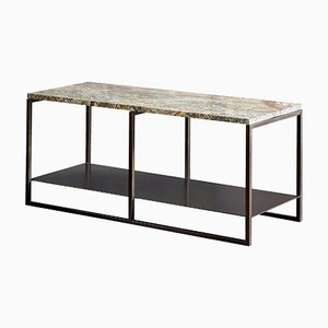 Eros Side Table in Marble & Powder-Coated Steel by Casa Botelho