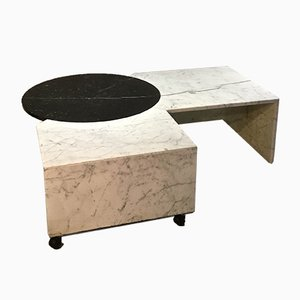 Tavolino da caffè regolabile in marmo, anni '70