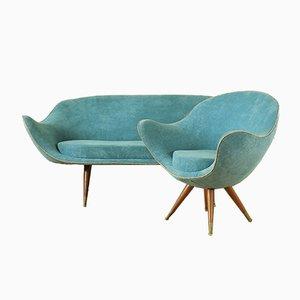 Butaca vintage y sofá, años 70