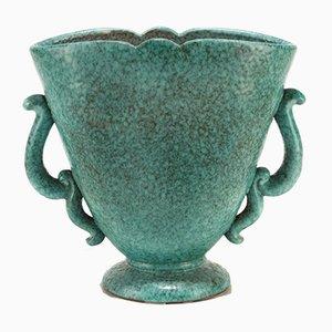 Grand Vase Vintage en Céramique Turquoise par Marcel Noverraz, 1930s