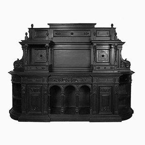 Credenza alta palladiana in legno di noce ebanizzato ed intagliato, metà XVIII secolo